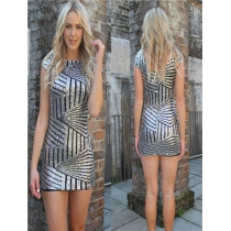 Sexy silver sequin mini dress M30102b