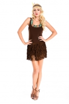 Brown sleeveless indian costume m4665