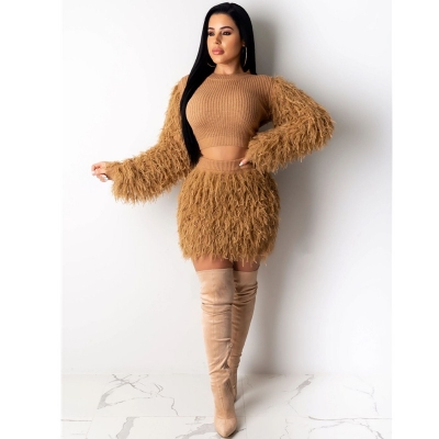Winter Fashion Fluffy Tassel Warm Sweater 2 Piece Set M8526