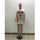 Women's Letters Print Loose Casual T-Shirt Dress M8368