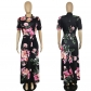 Casual Short Sleeve Long Boho Floral Print Maxi Dress M8410